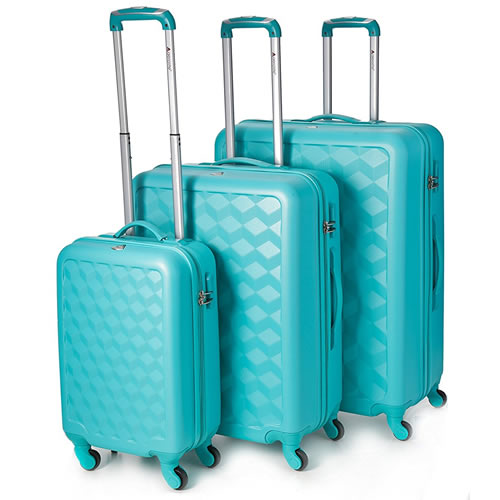 Aerolite 3Piece Luggage Set Hardshell ABS Turquoise