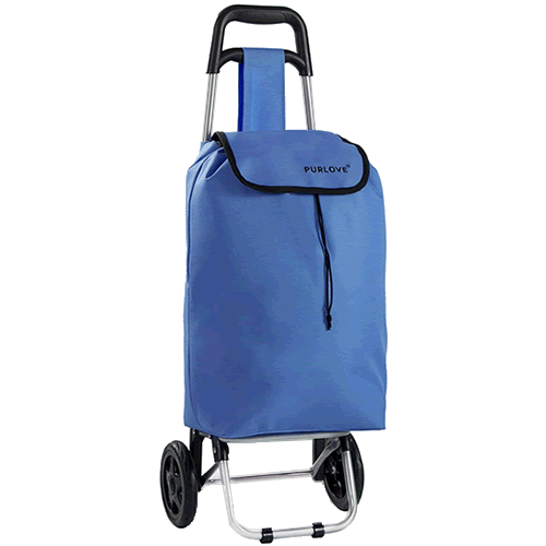 PURLOVE Lightweight Shopping Trolley Folding Collapsible Blue
