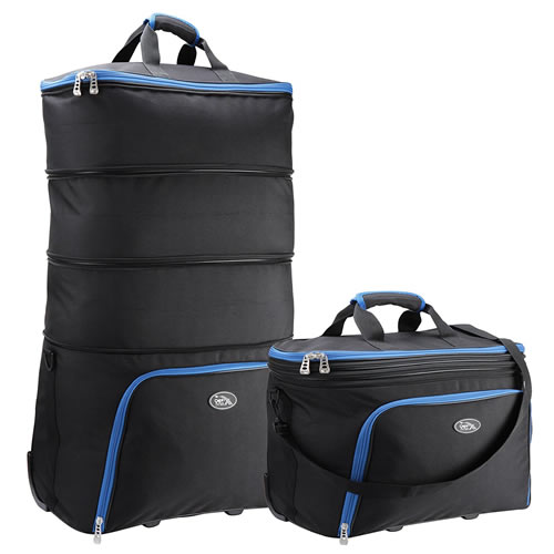 Cabin Max Bruno Expandable Check-in Bag Business Black Blue Trim
