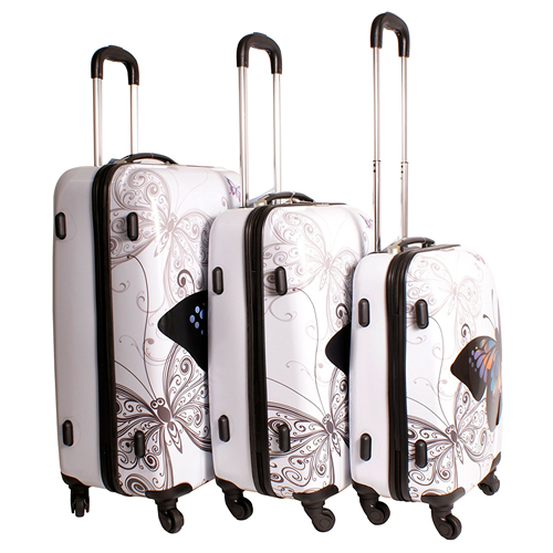 Butterfly Lightweight Freedom 3 Piece White Luggage Set