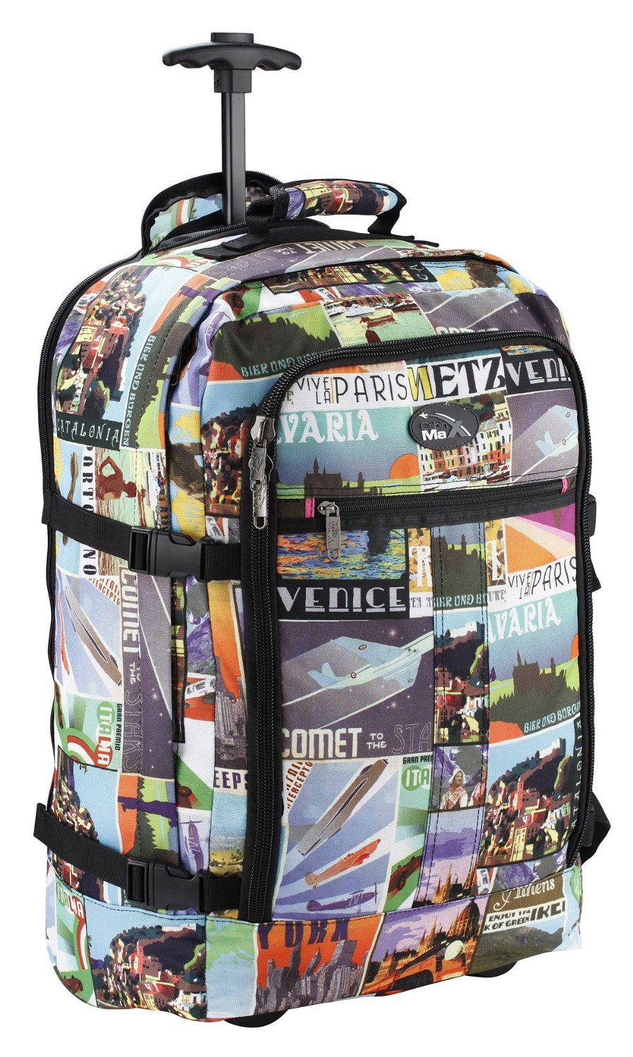Cabin Max Postcard Carry on Trolley Backpack World