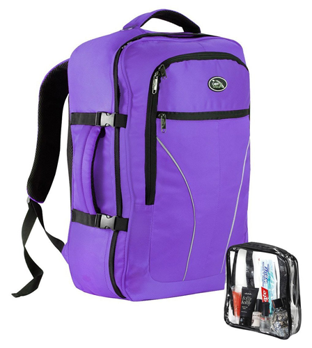 Cabin Max Palermo Carry-on Backpack with Detachable Toiletry Bag 44 litres 55x40x20cm Purple