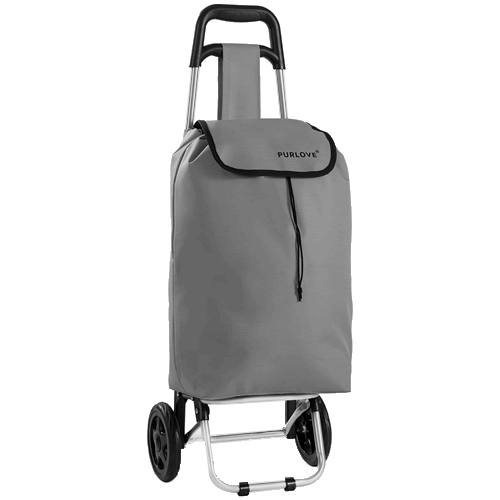 PURLOVE Lightweight Shopping Trolley Folding Collapsible Grey