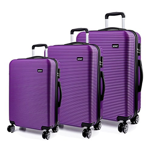 Kono Ivory Purple 3Piece Luggage Set Hardshell ABS