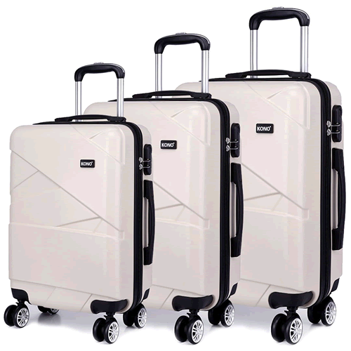 Kono American White 3 Piece Luxury Luggage Set