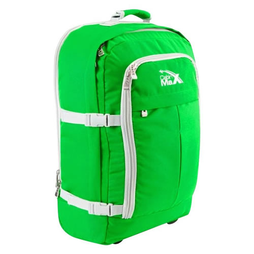 Cabin Max Lyon Carry On Trolley Backpack Green With White Trim