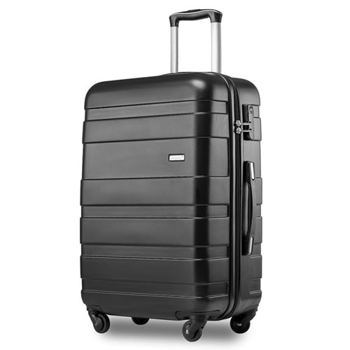 Merax Black Super Lightweight Hard Shell Travel Carry On Cabin Hand Suitcase 4 Wheels