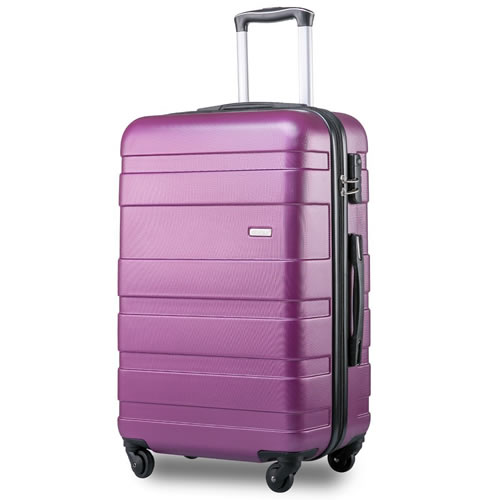 Merax Super Lightweight Hard Shell Travel Carry On Cabin Hand Suitcase 4 Wheels Purple