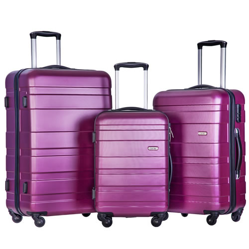 Merax® Set of 3 Hardshell 4Wheels Trolley Suitcase Set Purple