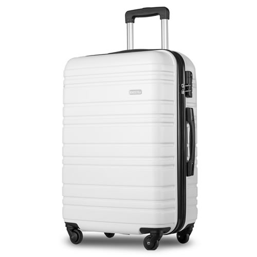 Merax White Lightweight Hard Shell Cabin Suitcase 4 Wheels