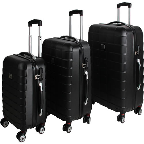 Diamond Black 3Piece Hardshell Suitcases Lightweight 4 Wheel Spinner