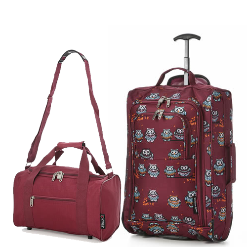 Perfecto Ryanair Maximum 2 CabinBag Set Owl Burgundy Twin