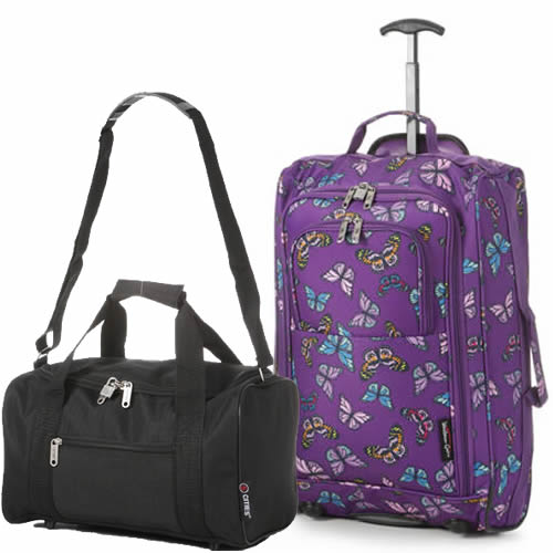 Perfecto Ryanair Maximum 2 CabinBag Set Butterfly Purple Black