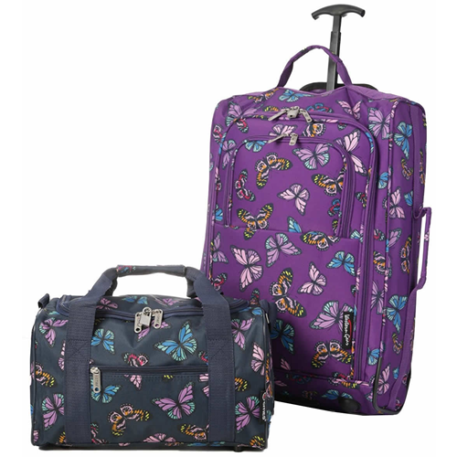 Perfecto Ryanair Maximum 2 CabinBag Set Butterfly Purple Navy