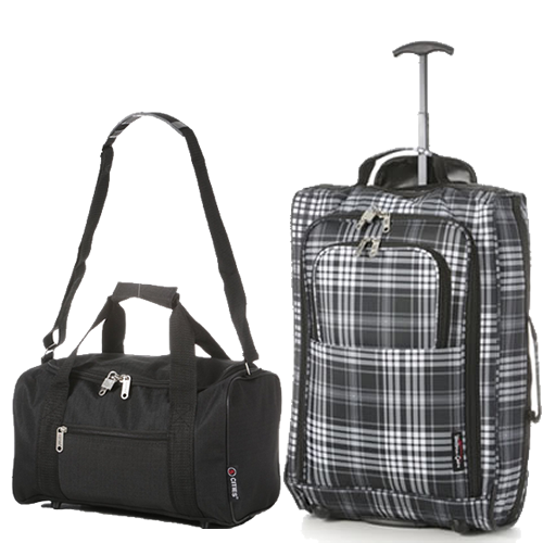 Perfecto Ryanair Maximum 2 CabinBag Set Tartan Black