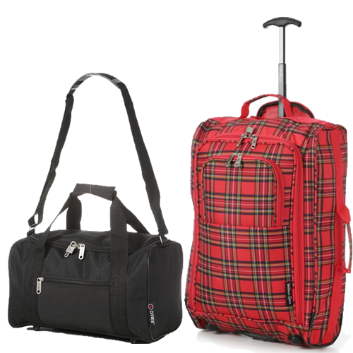 Perfecto Ryanair Maximum 2 CabinBag Set Tartan Red