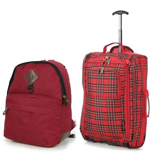 tartan red backpack set